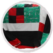 Knots On A Quilt With Digital Border Round Beach Towel