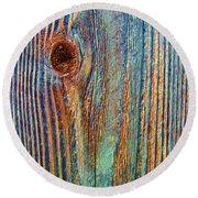 Knotty Plank #3b Round Beach Towel