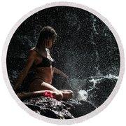 Knowledge. Anna At Eureka Waterfalls. Mauritius Round Beach Towel