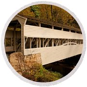Knox Bridge In Autumn Round Beach Towel