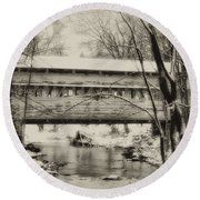 Knox Valley Forge Covered Bridge Round Beach Towel