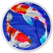Kohaku Koi In Deep Blue Pool Round Beach Towel