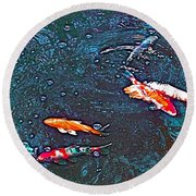 Koi 3 Round Beach Towel