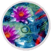 Koi And The Water Lilies Round Beach Towel