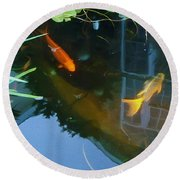 Koi - Oil Painting Effect Round Beach Towel