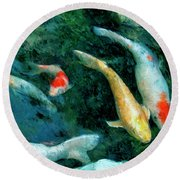 Koi Pond 2 Round Beach Towel