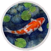 Koi Pond Round Beach Towel