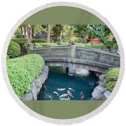 Koi Pond In Senso-ji Temple Grounds Round Beach Towel