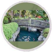 Koi Pond In Senso-ji Temple Grounds Round Beach Towel