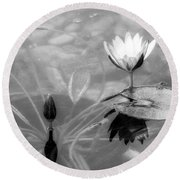 Koi Pond With Lily Pad Flower And Bud Black And White Round Beach Towel