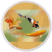 Koi With Azalea Ripples Dreamscape Round Beach Towel