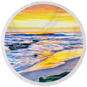 Kona Coast Sunset Round Beach Towel