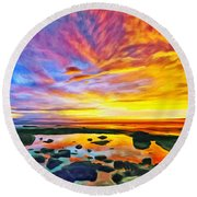 Kona Tidepool Reflections Round Beach Towel