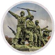 Korean War Veterans Memorial South Korea Round Beach Towel