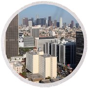 Koreatown Area Of Los Angeles California Round Beach Towel