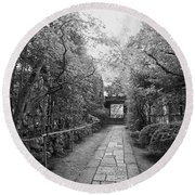Koto-in Temple Stone Path Round Beach Towel
