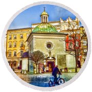 Krakow Main Square Old Town  Round Beach Towel