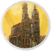 Krakow - Mariacki Church Round Beach Towel