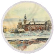 Krakow - Wawel Castle Winter Round Beach Towel
