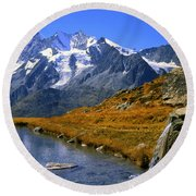 Kreuzboden Lake Round Beach Towel