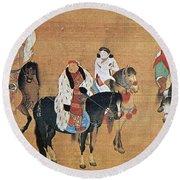 Kublai Khan Hunting Round Beach Towel