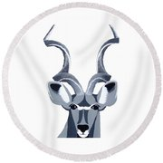 Kudu White Round Beach Towel