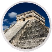 Kukulkan Pyramid At Chichen Itza Round Beach Towel