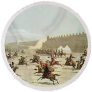 Kurdish And Tatar Warriors At Sadar Round Beach Towel
