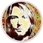 Kurt Cobain Digital Painting Round Beach Towel