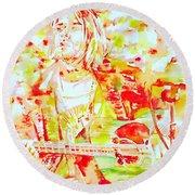 Kurt Cobain Live Concert - Watercolor Portrait Round Beach Towel