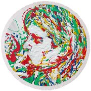 Kurt Cobain Smoking -portrait-enamels On Canvas Round Beach Towel