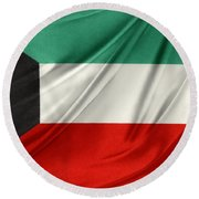 Kuwait Flag  Round Beach Towel by Les Cunliffe