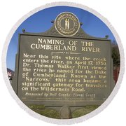 Ky-2045 Naming Of The Cumberland River Round Beach Towel