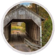 Ky Hillsboro Or Grange City Covered Bridge Round Beach Towel