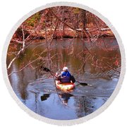 Kyaking On A Lake In Spring Round Beach Towel