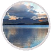 On The Banks Of Kylemore Lake Round Beach Towel