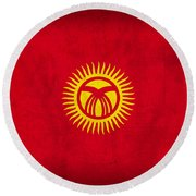 Kyrgyzstan Flag Vintage Distressed Finish Round Beach Towel