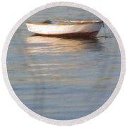 La Barque Au Crepuscule Round Beach Towel