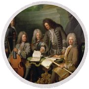 La Barre And Other Musicians, C.1710 Oil On Canvas Round Beach Towel