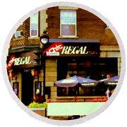 La Chic Regal Taverne Au Coin Rue Centre Et Charlevoix Pointe St Charles Scene De Rue Carole Spandau Round Beach Towel