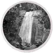 La Coca Falls El Yunque National Rainforest Puerto Rico Print Black And White Round Beach Towel
