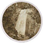 La Coca Falls El Yunque National Rainforest Puerto Rico Print Vintage Round Beach Towel