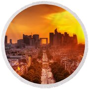 La Defense And Champs Elysees At Sunset Round Beach Towel by Michal Bednarek