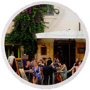 La Dolce Vita At A Cafe In Italy Round Beach Towel