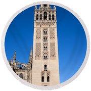 La Giralda Bell Tower In Seville Round Beach Towel
