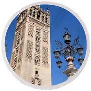 La Giralda Cathedral Tower In Seville Round Beach Towel