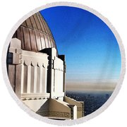 La Griffith Observatory Afternoon Round Beach Towel