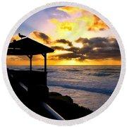 La Jolla At Sunset By Diana Sainz Round Beach Towel by Diana Sainz
