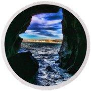 La Jolla Cave By Diana Sainz Round Beach Towel
