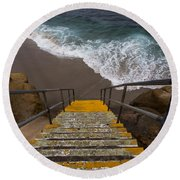 La Jolla Stairs 2 Round Beach Towel